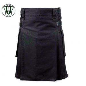 Utility Kilt in Black with Leather Strap