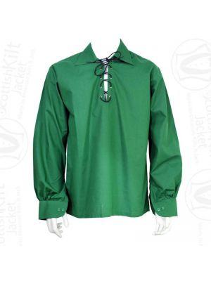 New Scottish Jacobite Shirt Green Traditional Men Ghillie Kilt Shirt For Sale