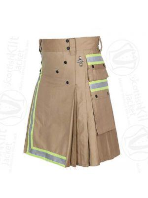 Firefighter Khaki Utility Kilt For Men (Hand Made) By Scottish kilt jacket