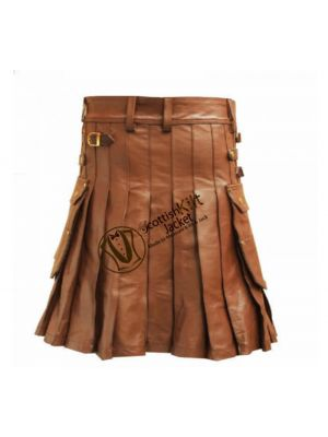 Utility Kilt with Sporran in Brown Leather On Sale