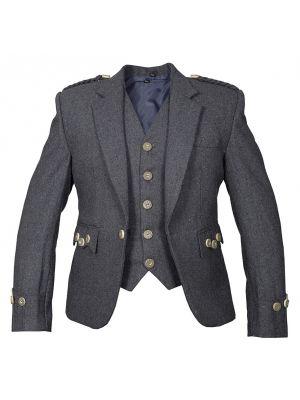 Scottish Argyll Tweed Kilt Jacket With 5 Buttons Waistcoat